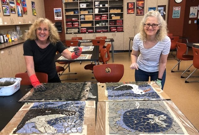 Shelly and Mary grouting more mosaics