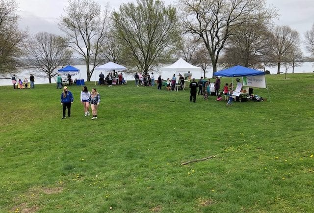 Some of the tables/tents set up at McCooks Park in Niantic