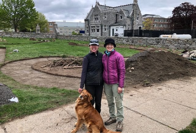 Annette, Mary and Luci—happy at the end of a chilly day, pathway aggregate tamped in the background
