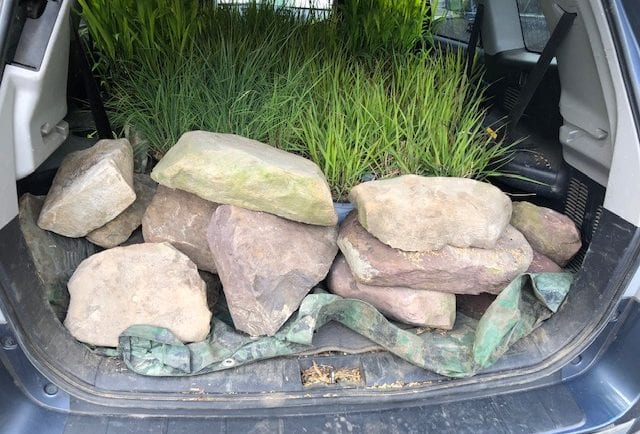 Beautiful rocks for the waterfall donated by Construction Materials Inc. in North Lebanon
