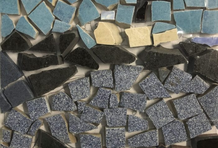 NHAMS boat/whale mosaic, pregrout