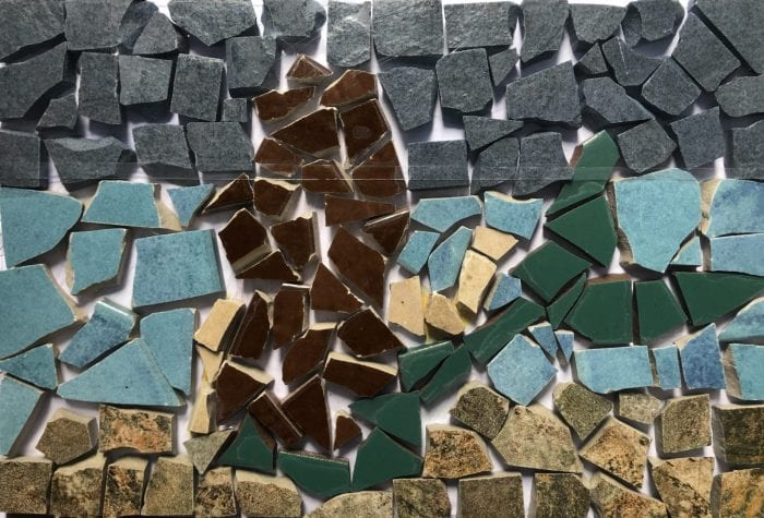 NHAMS mermaid mosaic, pregrout
