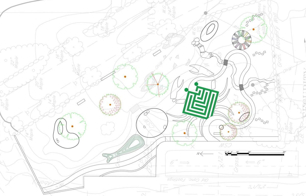 Site plan for the Children's Cognitive Garden at Avery Point