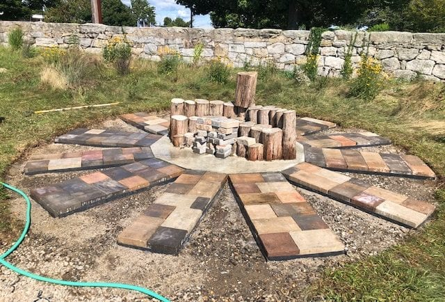 Pavers in place and ready for mosaics