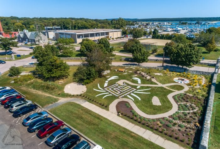 Aerial view of the garden, looking toward Field House