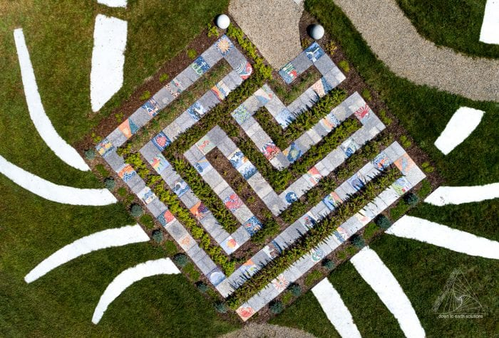 Aerial view of the crab-shaped labyrinth in more detail