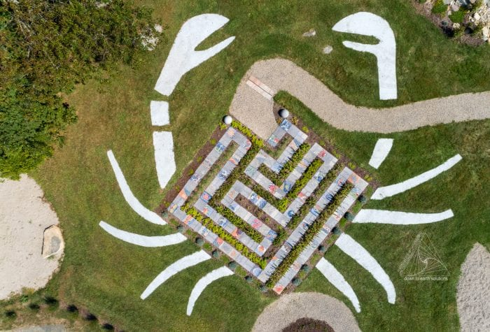 Aerial view of the crab-shaped labyrinth